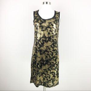 NWT Michael Kors Gold Black Sequined Shift Dress S